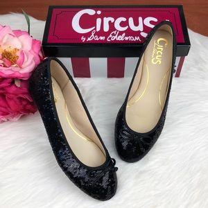 {Sam Edelman} Black Sequin Sparkle Round Toe Flats